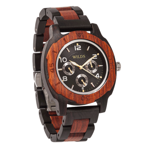 Mens Six Hands Multifunction Display Engraved Ebony & Rosewood Watch