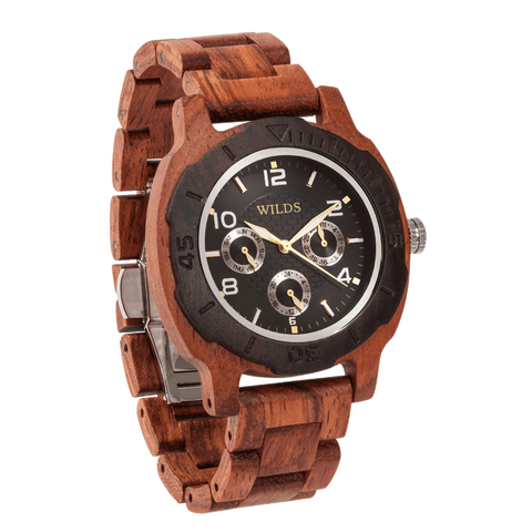 Mens Six Hands Multifunction Display Engraved Kosso Wood Watch