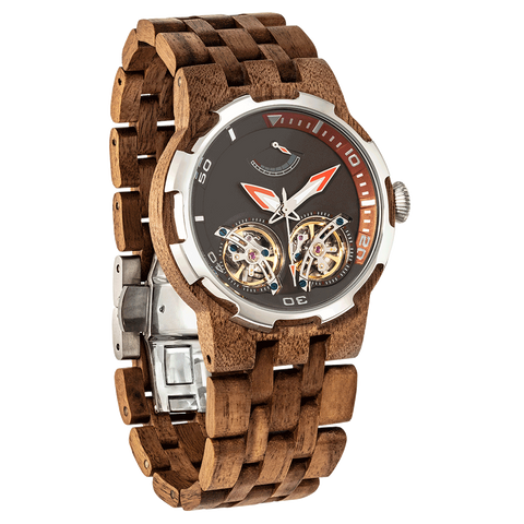 2019 NEW Dual Wheel Automatic Walnut Wood Watch for Men