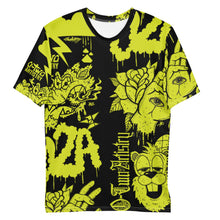 Load image into Gallery viewer, 02A: mural--Men's all over print tee (lime)