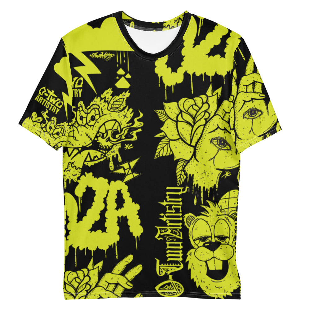 02A: mural--Men's all over print tee (lime)