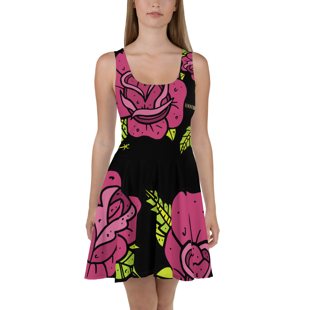 Rose dose--all over print Skater Dress