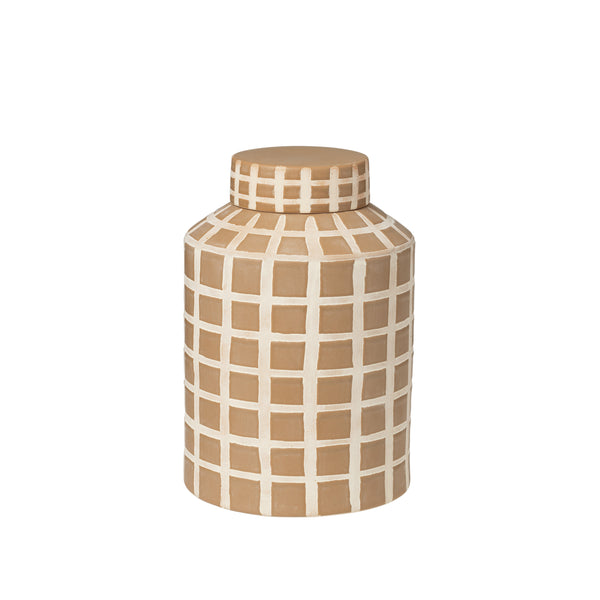 Golden Yellow Check Deco Jar - Small