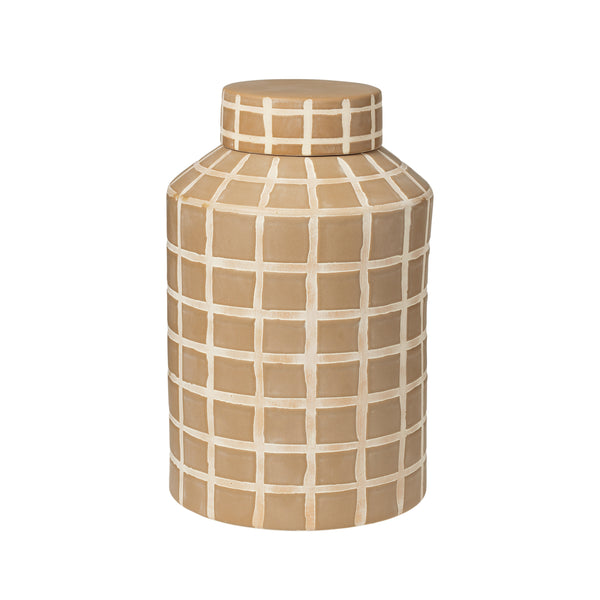 Golden Yellow Check Deco Jar - Med