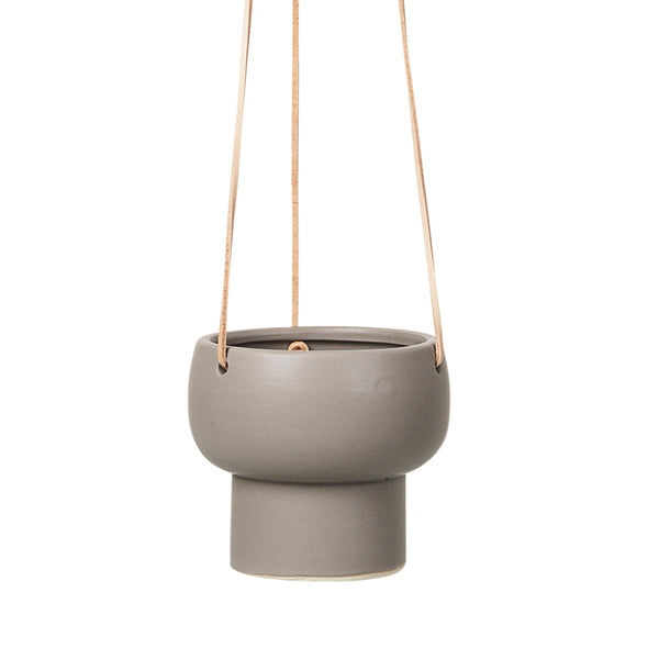 Taupe and Leather Hanging Plant Pot