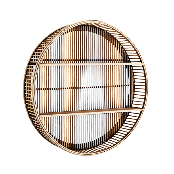 Round Bamboo Rattan Shelf