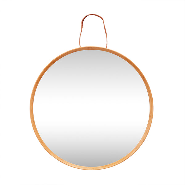 Bamboo & Leather Round Mirror