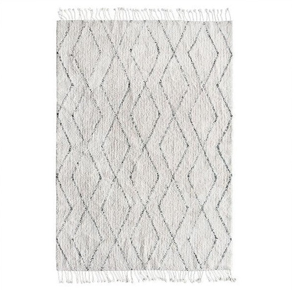 Cotton Diamond Fringe Rug - 140 x 200