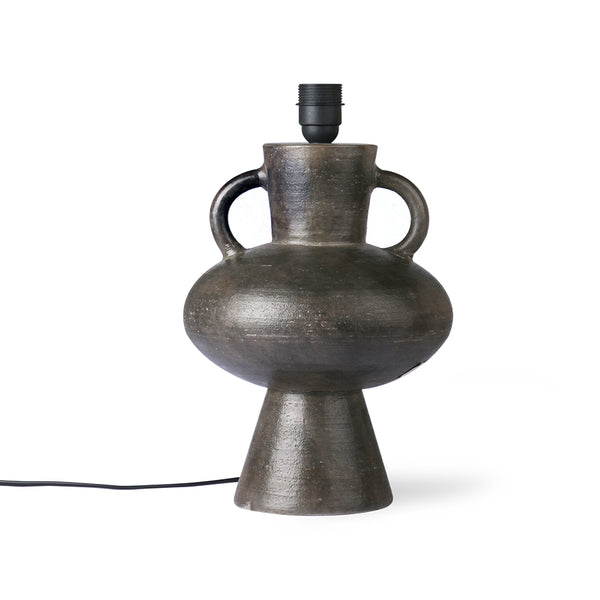Charcoal Stoneware Lamp Base with Handles