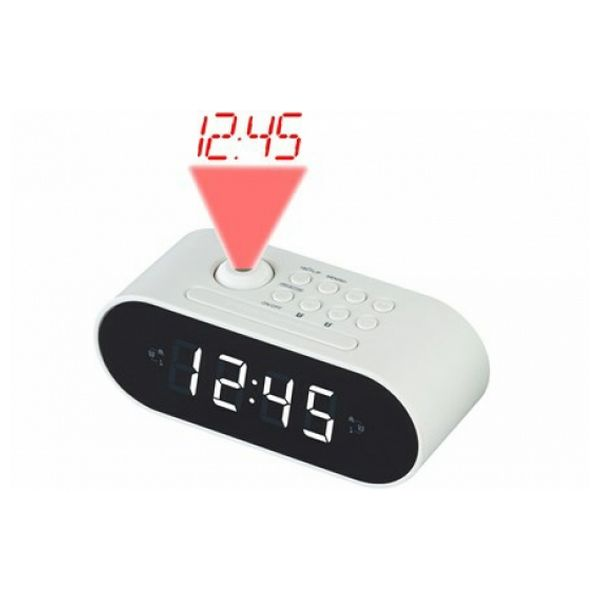Radio Alarm Clock with LCD Projector Denver Electronics CRP-717 LED White Black