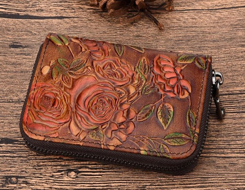 Carmelita Embossed Leather Wallet For Sale | Garnet-star