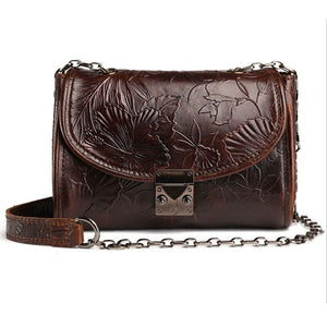 Hibiscus Embossed Leather Purse