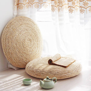Natural Weave Straw Floor Cushion