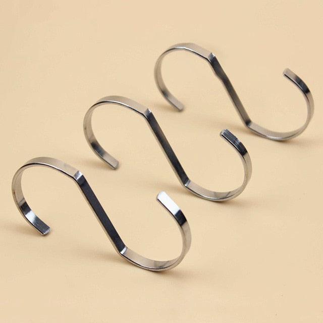 Stainless Steel S-Shaped Hooks - 5 Pieces