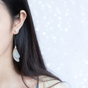 Celia Wing Silver Dangling Earrings