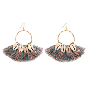 Shell Tassel Drop Earrings