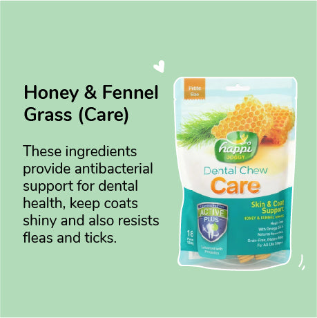 Happi Doggy Dental Chew Care Honey and Fennel Grass 150 gms