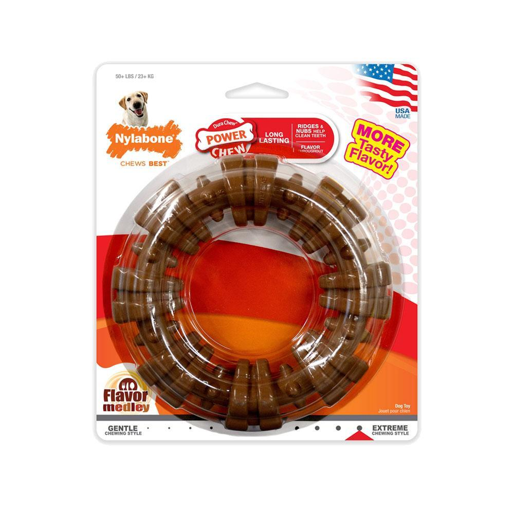 Nylabone Power Chew Textured Ring Dog Toy Flavor Medley (Souper)