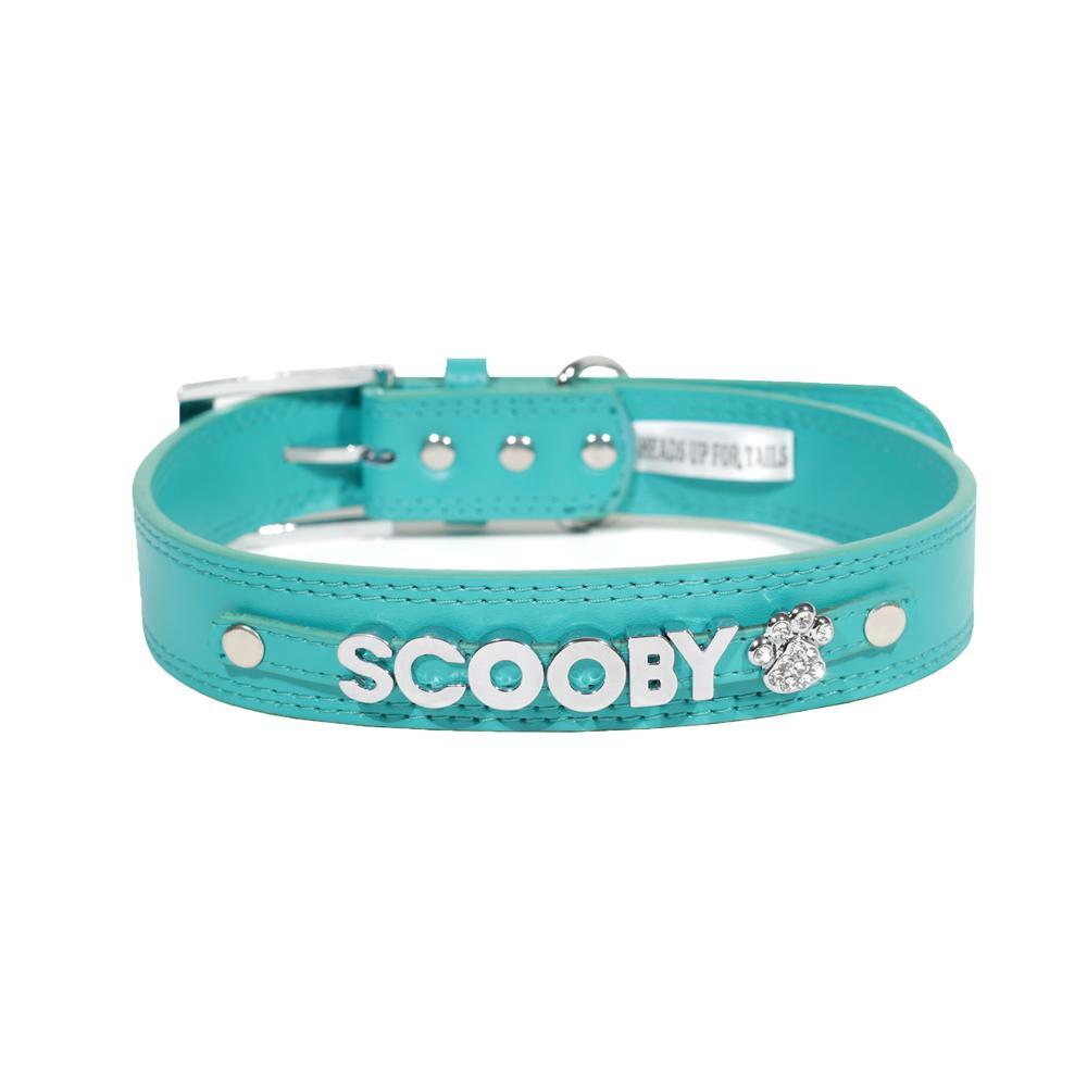 HUFT Personalised Dog Collar Teal Green Upto 7 Letters