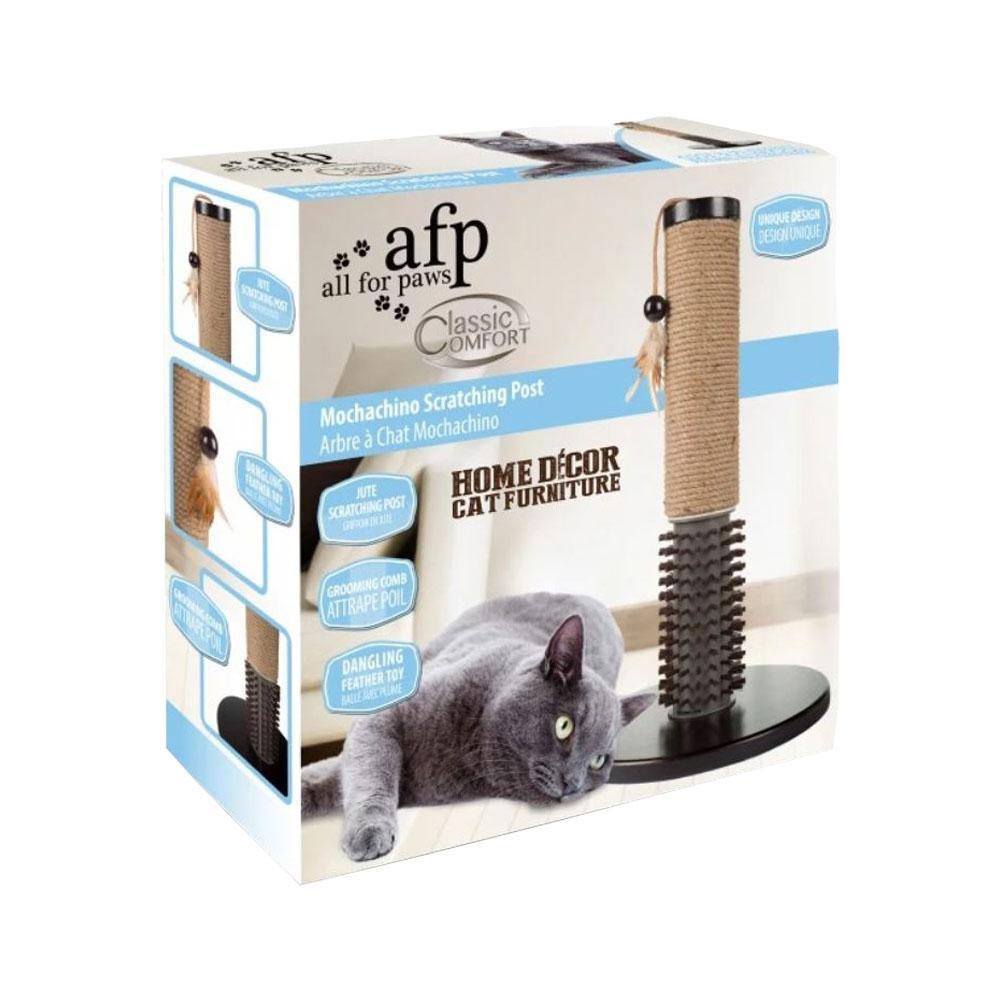 All For Paws Classic Comfort Mochachino Cat Scratching Post (with Rubber Bristles)