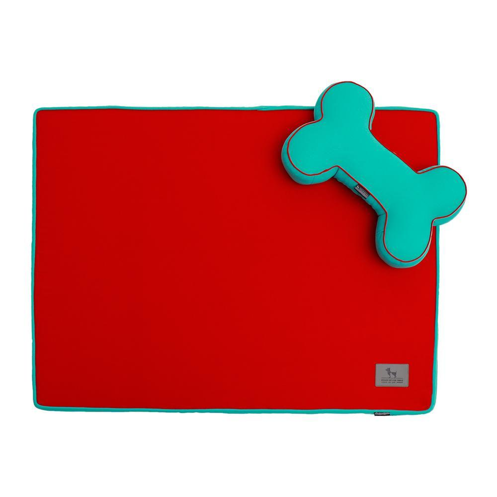 HUFT Orthopedic Dog Bed with Cushion Red and Teal Blue