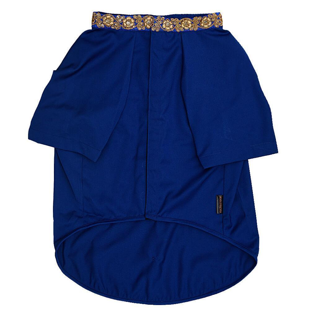 HUFT Blue Bandh Gala with Gold Pocket Square and Detailing