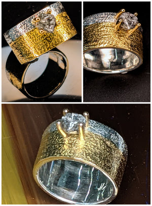 Women's  Contemporary 22k and 18 k Gold, Black Diamond and Argentium Silver Ring
