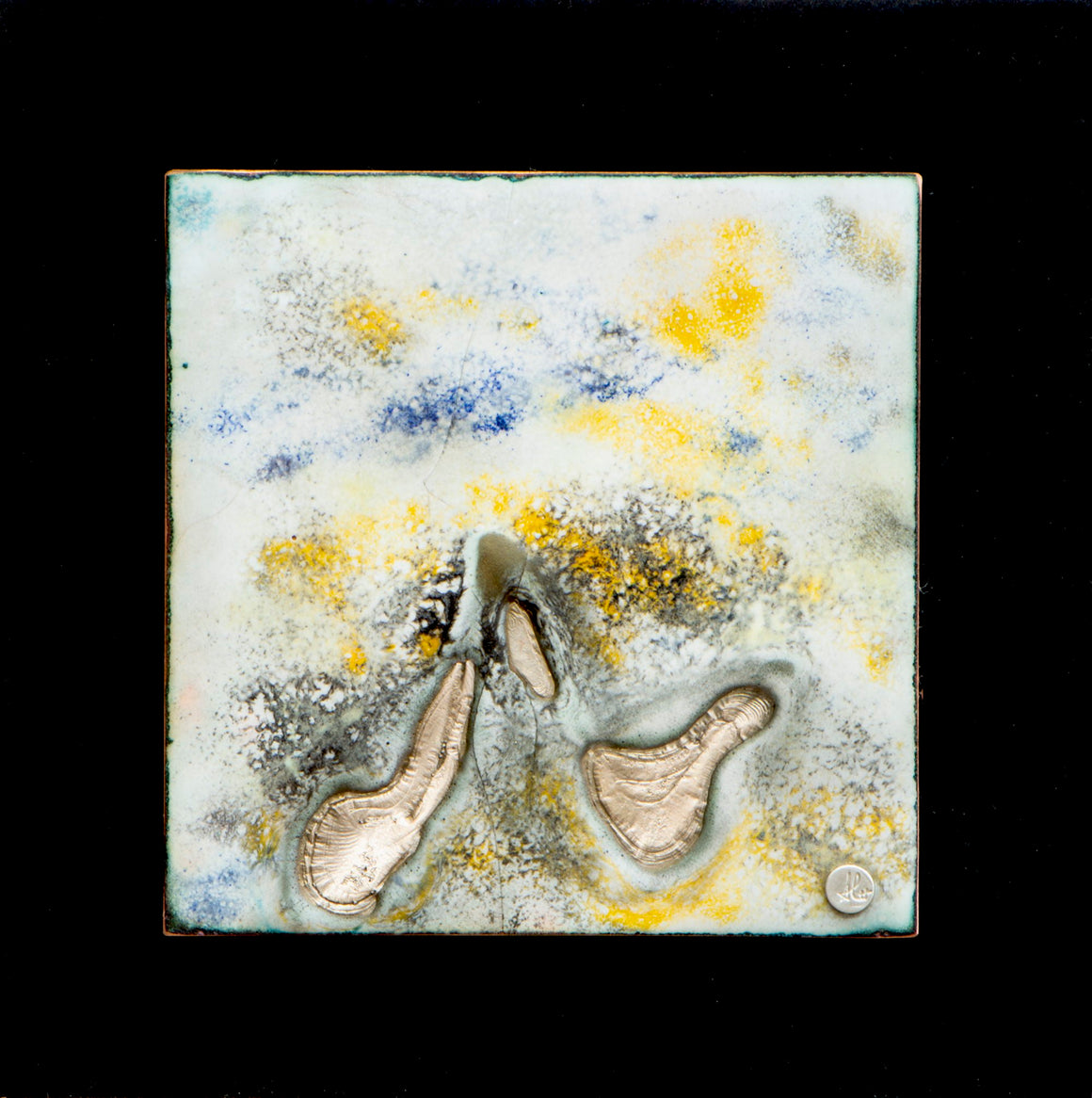 Birds in flight, 4 x 4 enamel  mounted on a 6x6 pvc board