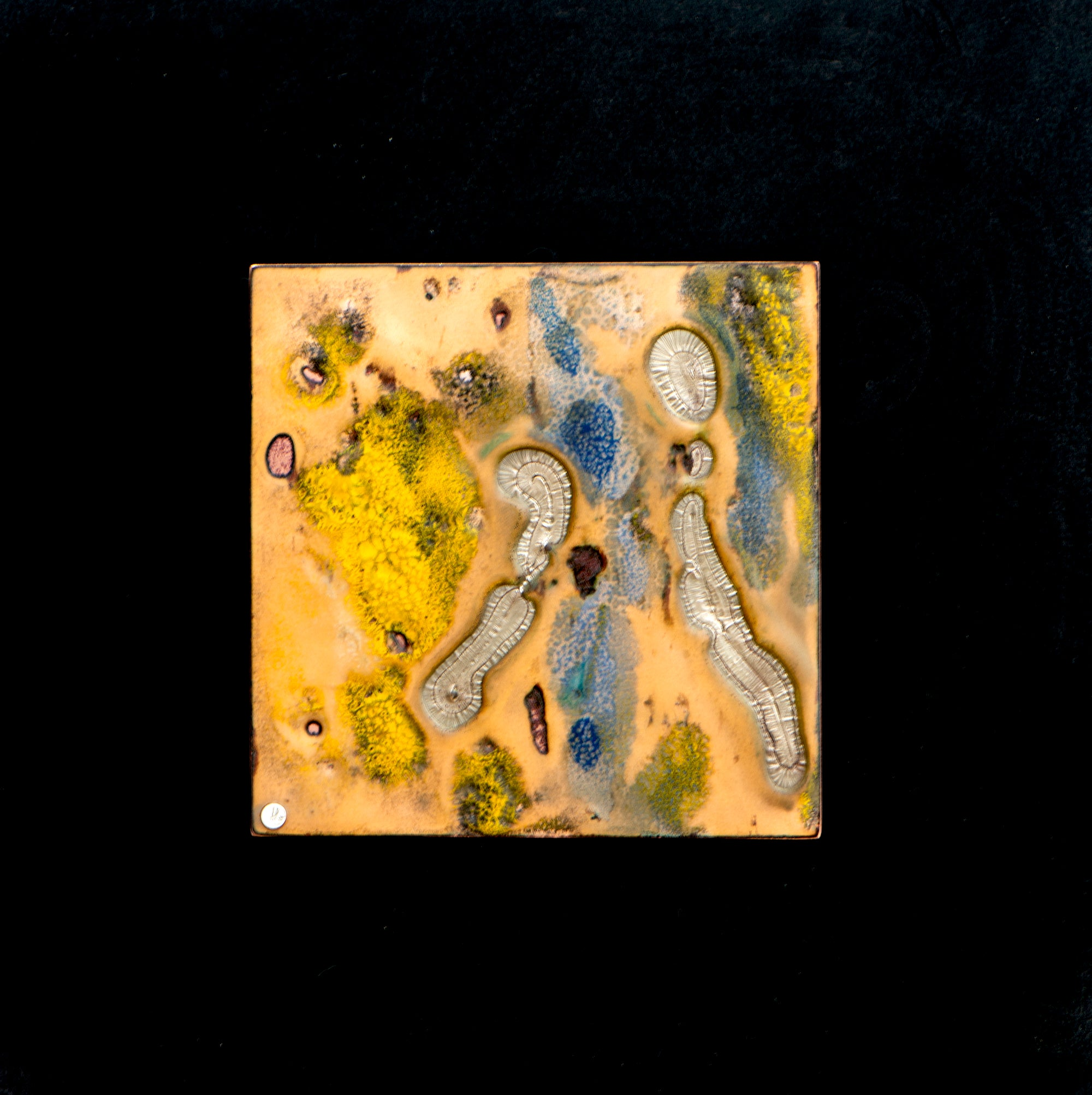 Conversations,  Enamel on copper panel with eutectic fired fine silver