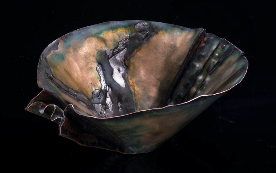 Fold-Formed Enamel on Copper Bowl