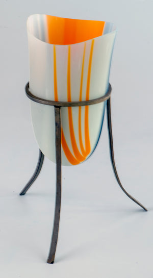 Elegant Glass vessel with Sterling Silver custom stand