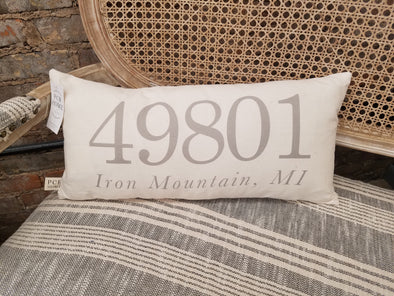 *Special Order* Custom Zip Code Pillow {49801 Shown}