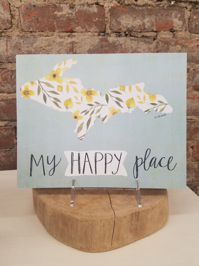 """MI Happy Place"" Plaque, Lg"