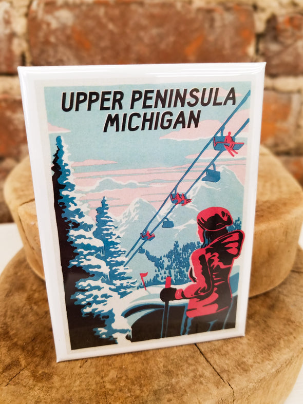 Retro Upper Michigan Ski Magnet