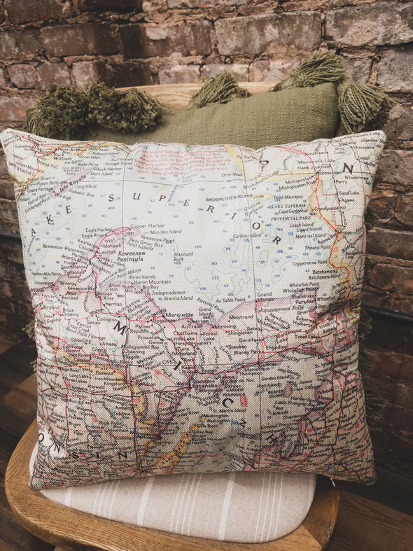 U.P. Map Pillow