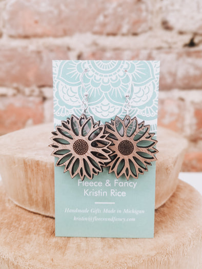 Sunflower Wooden Earrings
