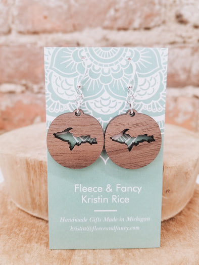 Mini Upper Peninsula Wooden Earrings