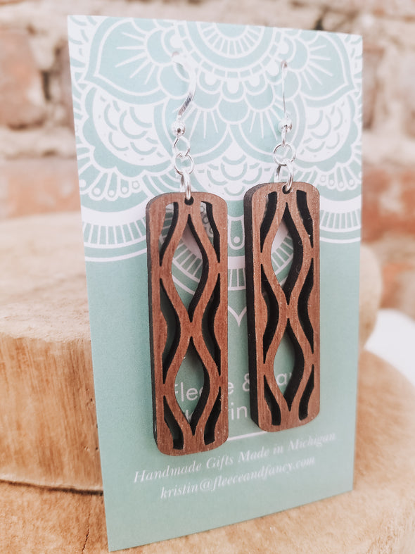Long Geo Wooden Earrings