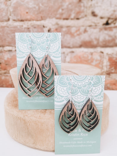 Swoop Pinecone Wooden Earrings