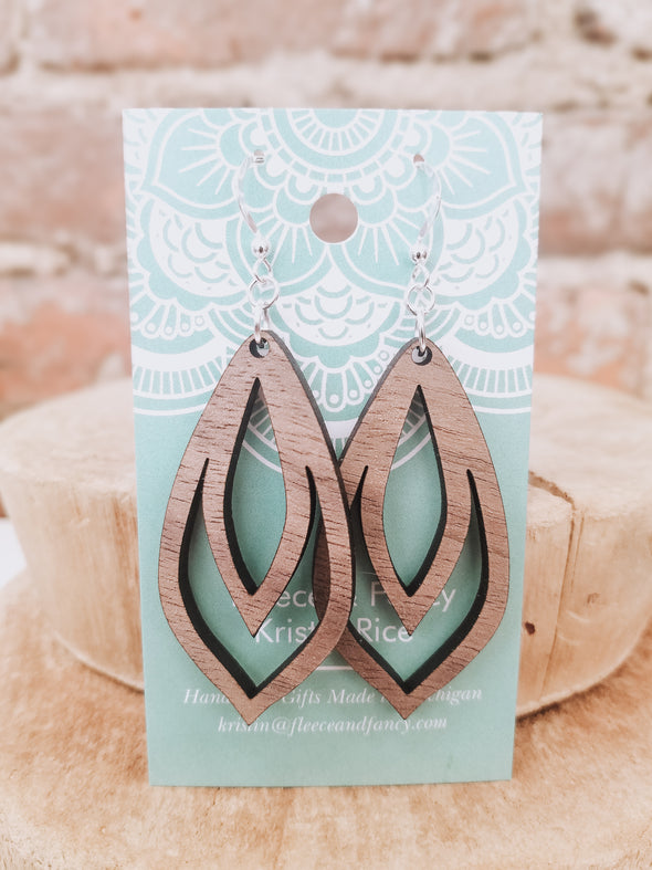 Pointed Pinecone Wooden Earrings