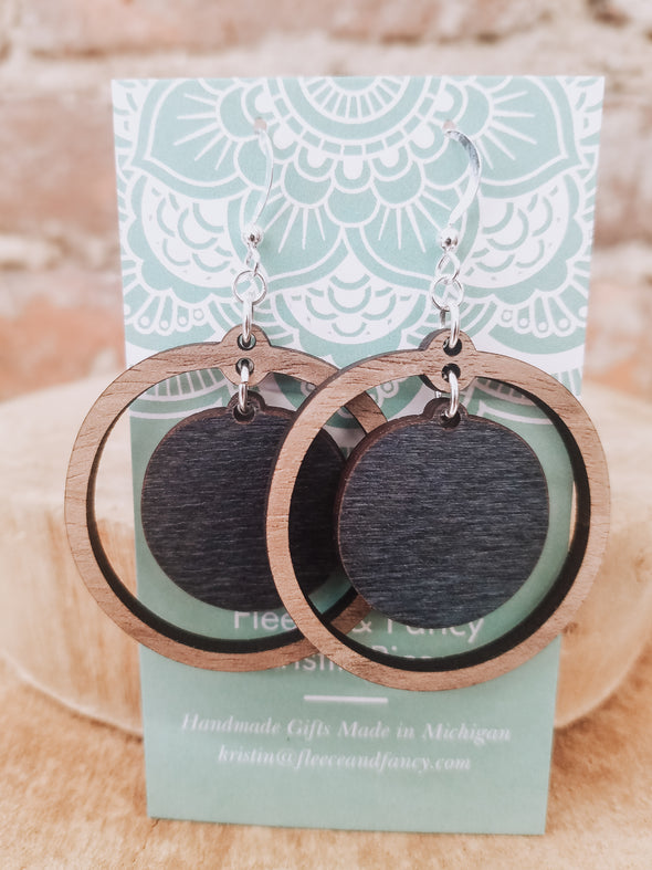 Double Circle Dyed Wooden Earrings
