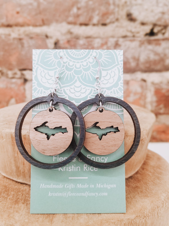 Double Circle U.P. Wooden Earrings