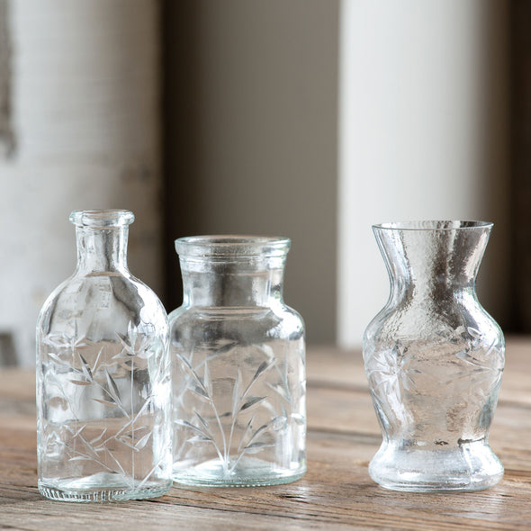 Etched Glass Vase, Mini