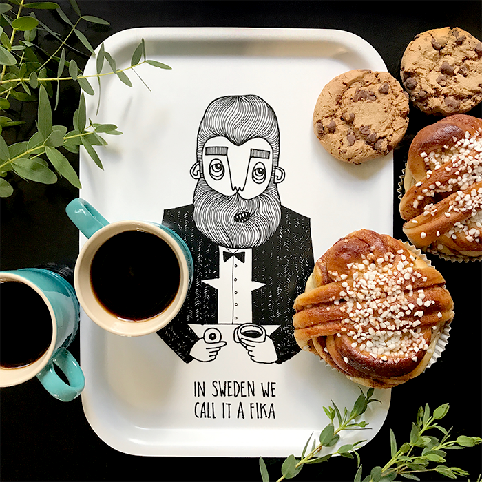 The bearded man Swedish Fika tray bearded man tray from Bahkadisch by Karin Ohlsson