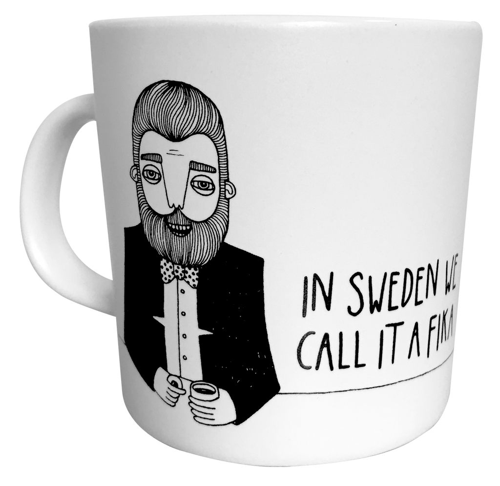 Swedis Coffee cup bearded man print from Bahkadisch by Karin Ohlsson
