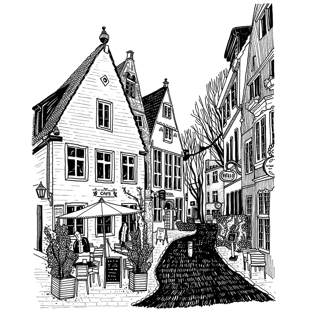 Limited edition - Bremen houses, A4