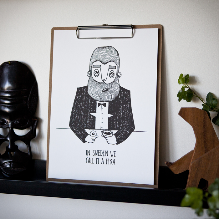 Frame bearded man by print from Bahkadisch by Karin Ohlsson