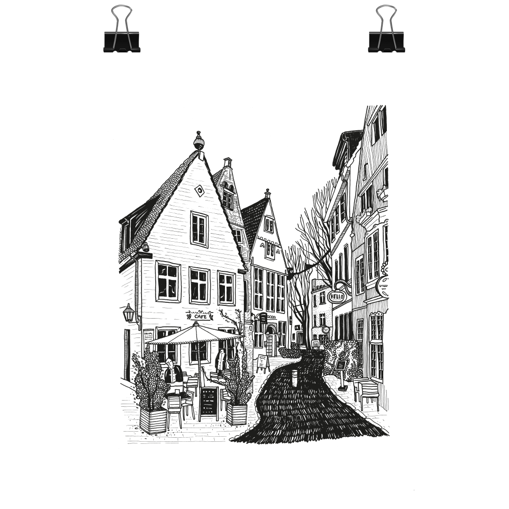 Limited edition - Bremen houses, print