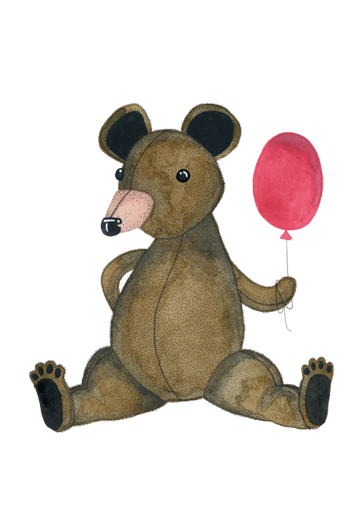 Vykort - Bear with balloon