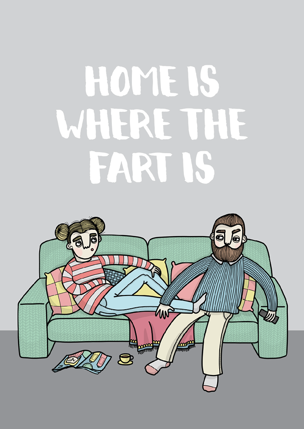 Vykort - Home is where the fart is